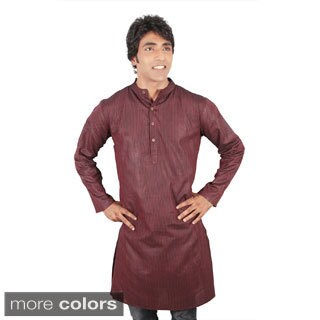 Handmade Men's Long Fitted Kurta Banded Collar Tunic (India)