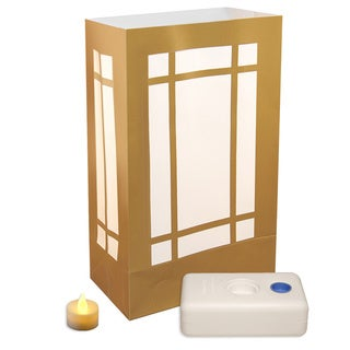 Gold Lantern Battery Operated Luminaria Kit (Pack of 12)