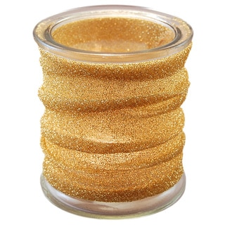 Gold Metallic Wrapped Glass Candle Holders (Set of 4)