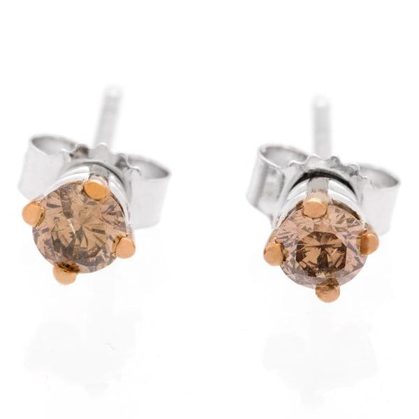 14k White Gold 1ct TDW Brown Diamond Studs (Brown)