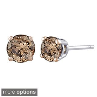 14k White Gold 1ct TDW Brown Diamond Studs (Brown)