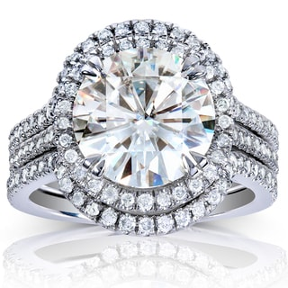 Annello 14k White Gold Round-cut Moissanite and 5/8ct TDW Diamond 3-piece Bridal Ring Set (G-H, I1-I