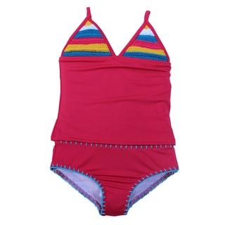 Azul Swimwear Girls' Pink Hippie Hippie Shake Tankini