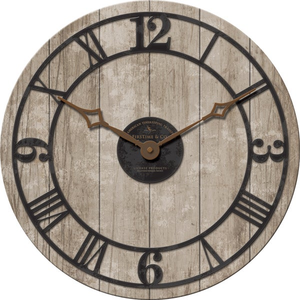 FirsTime 18-inches Reclaimed Whitewash Clock