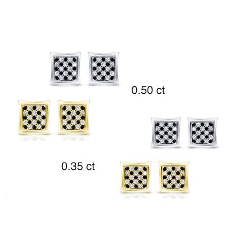 Auriya 10k Gold 1/4 to 1/2ctw Black and White Pave Diamond Stud Earrings