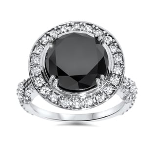 14k White Gold 7 1/3ct TDW Black and White Diamond Halo Vintage Engagement Ring (I-J, I2-I3)