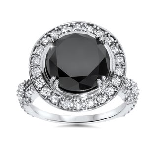 14k White Gold 7 1/3ct TDW Black and White Diamond Halo Vintage Engagement Ring