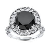 14k White Gold 7 1/3ct TDW Black and White Diamond Halo Vintage Engagement Ring