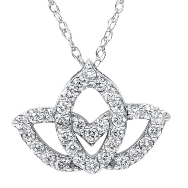 Bliss 14k White Gold 2/5ct TDW Diamond Lotus Flower Pendant Necklace (H-I, I2-I3)