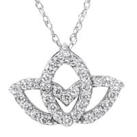 14k White Gold 2/5ct TDW Diamond Lotus Flower Pendant Necklace