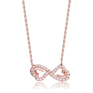 Collette Z Roseplated Sterling Silver Cubic Zirconia Double Heart Infinity Necklace