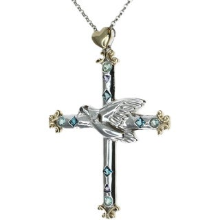 Michael Valitutti London Blue Topaz, Iolite and Apatite Cross Pendant Necklace