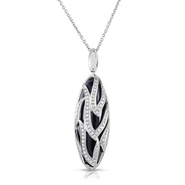 4ee7b462536 Shop 14k White Gold 2 5ct TDW Diamond  Black Onyx Pendant Necklace (H-I