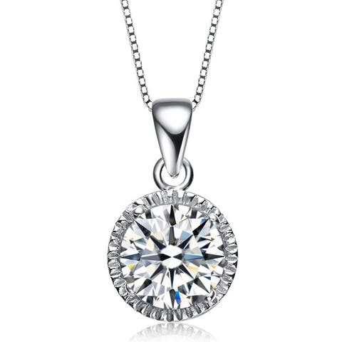 Collette Z Sterling Silver Cubic Zirconia Round Stud Style Necklace