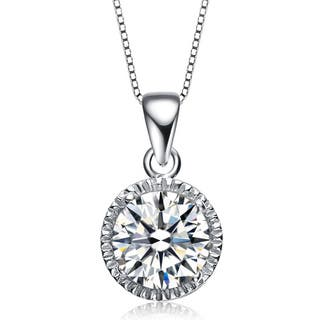 Collette Z Sterling Silver Cubic Zirconia Round Stud Style Necklace|https://ak1.ostkcdn.com/images/products/9623646/P16810065.jpg?impolicy=medium