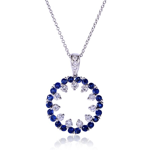 Annello by Kobelli 14k Gold Blue Sapphire and 3/5ct TDW Diamond Necklace (H-I, I1-I2)