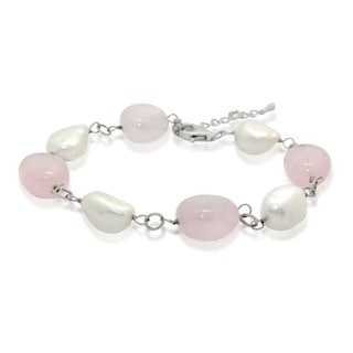 Gioelli Sterling Silver Rose Quartz and Freshwater Pearl Bracelet