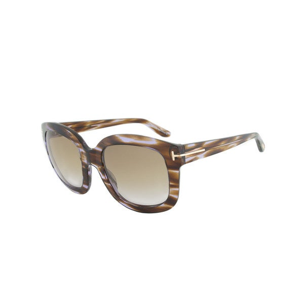 Tom Ford FT0279 47Z Christophe Brown and Violet Square Framed Women's Sunglasses with Brown Gradient