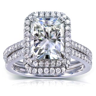 Annello by Kobelli 14k White Gold 3 1/6ct TGW Radiant-cut Moissanite (HI) and Diamond Halo Bridal Ring Set (More options available)