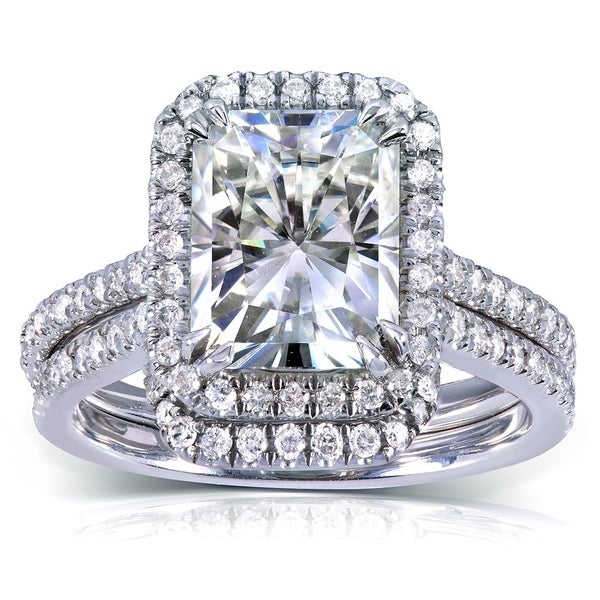 Annello by Kobelli 14k White Gold 3 1/6ct TGW Radiant-cut Moissanite and Diamond Halo Bridal Ring Set. Opens flyout.