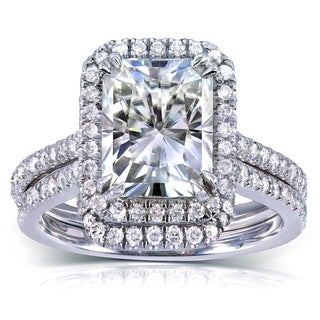 Annello by Kobelli 14k White Gold 3 1/6ct TGW Radiant-cut Moissanite and Diamond Halo Bridal Ring Set