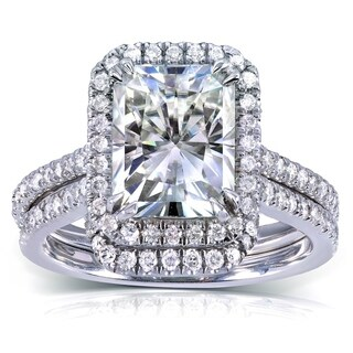 Annello by Kobelli 14k White Gold 3 1/6ct TGW Radiant-cut Moissanite (HI) and Diamond Halo Bridal Ring Set