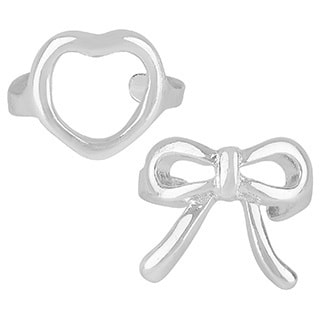 Sunstone Sterling Silver Heart and Bow Ear Cuff Earrings