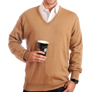 Braga Men's Pure Merino Wool Sweater (Option: Beige - L)