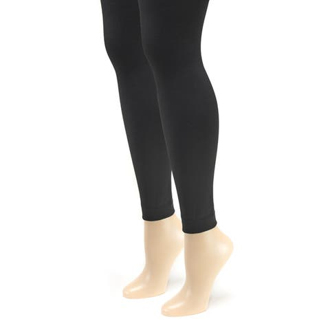 Muk Luks Womens Fleece-lined Footless Tights (2 Pairs)
