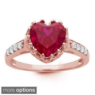 Gioelli Sterling Silver Rose Goldplated Heart-cut Gemstone Ring