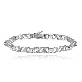 Glitzy Rocks Sterling Silver Gemstone and Diamond Accent X and Oval Bracelet (5 options available)