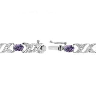 Glitzy Rocks Sterling Silver Gemstone and Diamond Accent X and Oval Bracelet