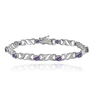 Glitzy Rocks Sterling Silver Gemstone And Diamond Accent X Oval Bracelet Options Purple