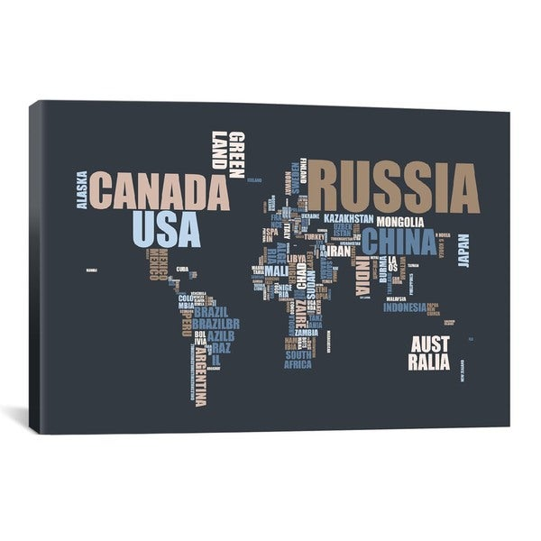 Icanvas michael thompsett world map in words canvas print wall art icanvas michael thompsett world map in words canvas print wall art gumiabroncs Gallery