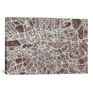 iCanvas Michael Thompsett London Map VII Canvas Print Wall Art