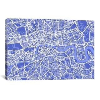 iCanvas Michael Thompsett London Map IV (Blue) Canvas Print Wall Art