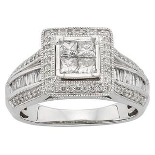 Sofia 10k White Gold 1ct TDW Princess Cut Certified Diamond Ring (H-I, I1-I2)