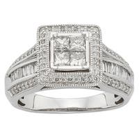 Sofia 10k White Gold 1ct TDW Princess Cut IGL Certified Diamond Ring