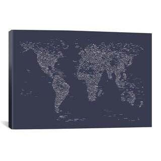 iCanvas Michael Thompsett Font World Map (Navy Blue) Canvas Print Wall Art