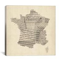 iCanvas Michael Thompsett Map of France Old Sheet Music Canvas Print Wall Art