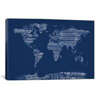 iCanvas Michael Thompsett World Map Sheet Music (Blue) Canvas Print Wall Art