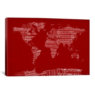 iCanvas Michael Thompsett World Map Sheet Music (Red) Canvas Print Wall Art
