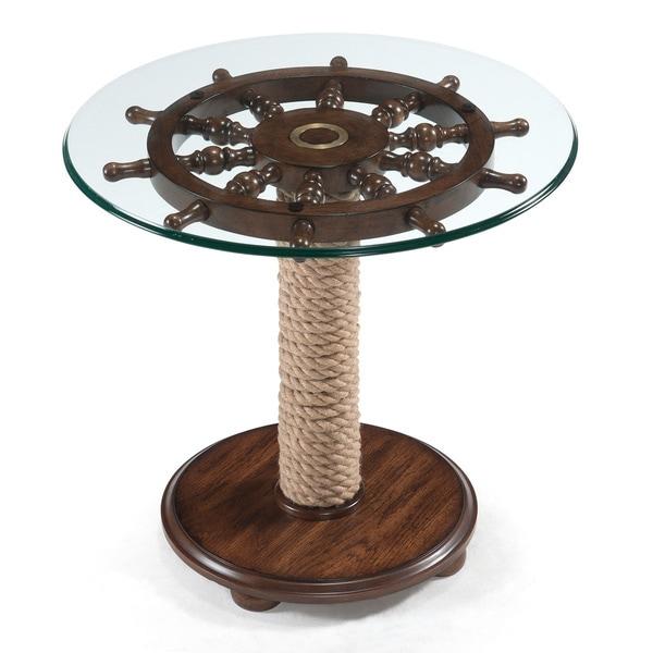 shop beafort nautical dark oak round accent table on. Black Bedroom Furniture Sets. Home Design Ideas