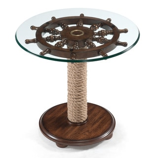 Charmant Beafort Nautical Dark Oak Round Accent Table