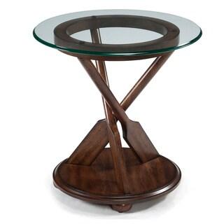 Beafort Nautical Dark Oak Oar-Framed Accent Table