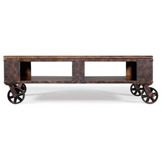 Pine Canopy Canova Distressed Pine Wood Coffee Table on Casters
