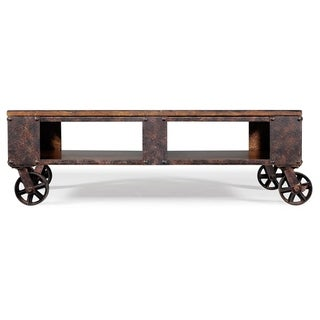 Carbon Loft Michael Distressed Pine Wood Coffee Table on Casters