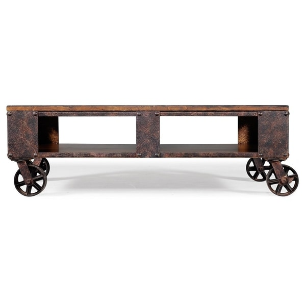 Exceptional Oliver U0026amp; James Canova Distressed Pine Wood Coffee Table On Casters