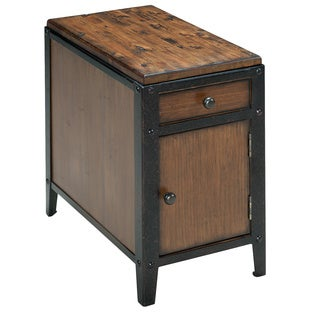 Pinebrook Industrial Distressed Natural Pine Storage Chairside Table