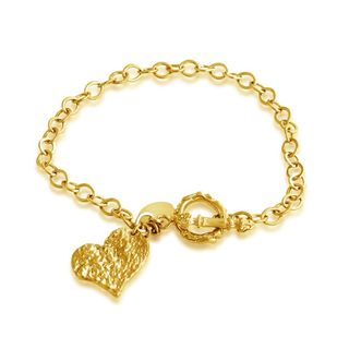 Belcho Goldplated Silver Hammered Heart Charm Toggle Bracelet